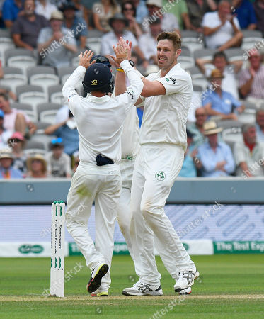 Wicket - Boyd Rankin of Ireland celebrates taking the wicket of Moeen Ali of England during the International Test Match 2019 match between England and Ireland at Lord's Cricket Ground, St John's Wood