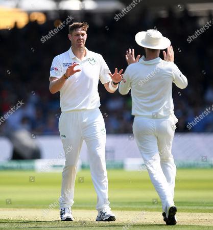 England vs Ireland. Boyd Rankin of Ireland celebrates the wicket of Rory Burns