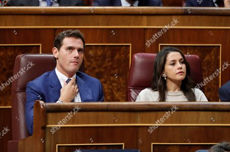 Spanish opposition Ciudadanos (Citizens) party's leader, Albert Rivera (L), and MPs Ines Arrimadas attend the second and last investiture vote of acting Prime Minister and aspirant for re-election Pedro Sanchez (unseen) at Lower Chamber of Spanish Parliament in Madrid, Spain, 25 July 2019. Sanchez faces his re-election vote at Lower Chamber without enough support from other parties, as the socialists have no reached an agreement with left coalition Unidas Podemos (United, We Can) yet.