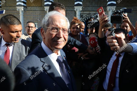 Parliament speaker of Tunisia, Mohamed Ennaceur (C), speaks to the media after sworn in as the interim president in the Tunisian parliament in Tunis, Tunisia, 25 July 2019. The Tunisian Presidency on 25 July 2019 announced that Beji Caid Essebsi died at the age of 92, one day after he was admitted to hospital