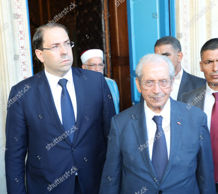 Head of government of Tunisia Youssef Chahed (L) and parliament speaker of Tunisia, Mohamed Ennaceur (C), after sworn in as the interim president in the Tunisian parliament in Tunis, Tunisia, 25 July 2019. The Tunisian Presidency on 25 July 2019 announced that Beji Caid Essebsi died at the age of 92, one day after he was admitted to hospital