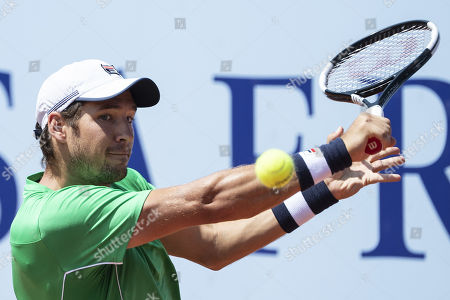 Stock Photo of Dusan Lajovic of Serbia in action during his second round match against Denis Istomin of Uzbekistan at the Swiss Open tennis tournament in Gstaad, Switzerland, 25 July 2019.