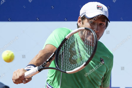 Stock Image of Dusan Lajovic of Serbia in action during his second round match against Denis Istomin of Uzbekistan at the Swiss Open tennis tournament in Gstaad, Switzerland, 25 July 2019.