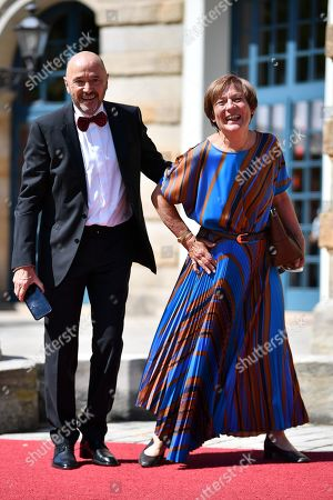 Former ski racers Christian Neureuther (L) and Rosi Mittermaier arrive for the Richard-Wagner-Festspielhaus in Bayreuth, Germany, 25 July 2019. The Richard Wagner Festival opens with the opera 'Tannhaeuser' on 25 July and runs through 28 August.