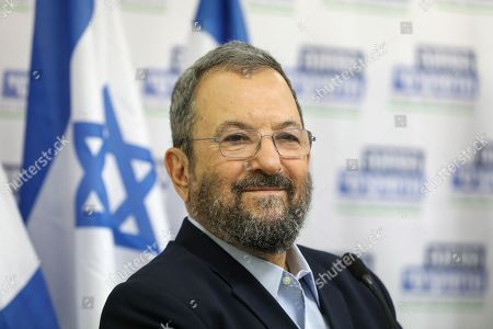 Former Israeli Prime Minister Ehud Barak during a press conference with Labor Party member Stav Shafir and chairman of Meretz party Nitzan Horowitz (both unseen) in Tel Aviv, Israel, 25 July 2019. The three leaders announced on a joint political union under the 'Democratic Camp' left -wing party for  the upcoming 17 September 2019 Israeli legislative election. aiming to challenge Prime Minister Netanyahu conservative Party Likud.