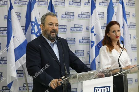 Former Israeli Prime Minister Ehud Barak (L) during a press conference with Labor Party member Stav Shafir (R) and chairman of Meretz party Nitzan Horowitz (unseen) in Tel Aviv, Israel, 25 July 2019. The three leaders announced on a joint political union under the 'Democratic Camp' left -wing party for  the upcoming 17 September 2019 Israeli legislative election. aiming to challenge Prime Minister Netanyahu conservative Party Likud.