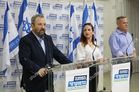 Former Israeli Prime Minister Ehud Barak (L) during a press conference with Labor Party member Stav Shafir (C) and chairman of Meretz party Nitzan Horowitz (R) in Tel Aviv, Israel, 25 July 2019. The three leaders announced on a joint political union under the 'Democratic Camp' left -wing party for  the upcoming 17 September 2019 Israeli legislative election. aiming to challenge Prime Minister Netanyahu conservative Party Likud.