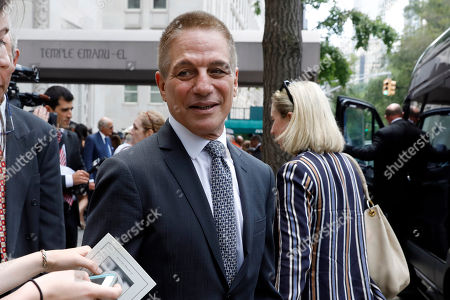 Actor Tony Danza leaves the funeral for former Manhattan District Attorney Robert Morgenthau at Temple Emanu-El, in New York
