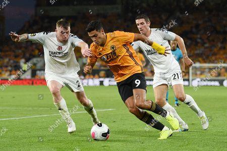 Raul Jimenez of Wolverhampton Wanderers is challenged by Billy Burnsof Crusaders and Gary Thompson of Crusaders.
