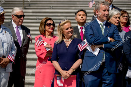 From left, Rep. Alma Adams, D-N.C., House Majority Leader Steny Hoyer of Md., House Speaker Nancy Pelosi of Calif., Rep. Debbie Dingell, D-Mich., Rep. Ted Lieu, D-Calif., and Rep. Matt Cartwright, D-Penn., and other House Democrats, hold a news conference on the first 200 days of the 116th Congress on Capitol Hill, in Washington