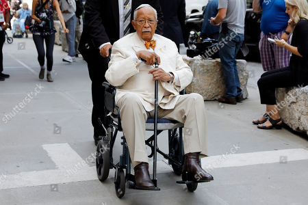 Former New York Mayor David Dinkins arrives for the funeral of Robert Morgenthau, ex-prosecutor and Manhattan's longest-serving DA who inspired a 'Law & Order' character, at Temple Emanu-El, in New York