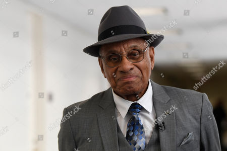 Willie O'Ree, the first black player to compete in the NHL, arrives for a meeting on Capitol Hill in Washington, with Sen. Tim Scott, R-S.C., and Sen. Debbie Stabenow, D-Michigan. Scott and Stabenow announced their bipartisan legislation to award the Congressional Gold Medal to O'Ree