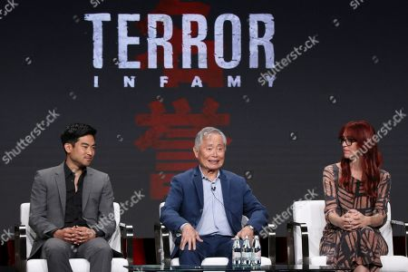 """Stock Picture of Derek Mio, George Takei, JR Hawbaker. Derek Mio, from left, George Takei and costume designer JR Hawbaker participate in AMC's """"The Terror: Infamy"""" panel at the Television Critics Association Summer Press Tour, in Beverly Hills, Calif"""