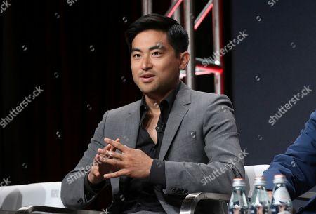 "Derek Mio speaks in AMC's ""The Terror: Infamy"" panel at the Television Critics Association Summer Press Tour, in Beverly Hills, Calif"