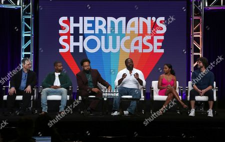 "Frank Scherma, Andrew Bachelor, Diallo Riddle, Bashir Salahuddin, Bresha Webb, Matt Piedmont. Executive producer Frank Scherma, from left, Andrew ""King Bach"" Bachelor, co-creators Diallo Riddle and Bashir Salahuddin, Bresha Webb and director Matt Piedmont participate in IFC's ""Sherman's Showcase"" panel at the Television Critics Association Summer Press Tour, in Beverly Hills, Calif"