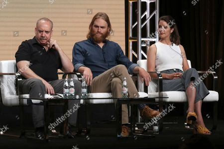 "Paul Giamatti, Wyatt Russell, Sonya Cassidy. Executive producer Paul Giamatti, from left, Wyatt Russell and Sonya Cassidy participate in AMC's ""Lodge 49"" panel at the Television Critics Association Summer Press Tour, in Beverly Hills, Calif"