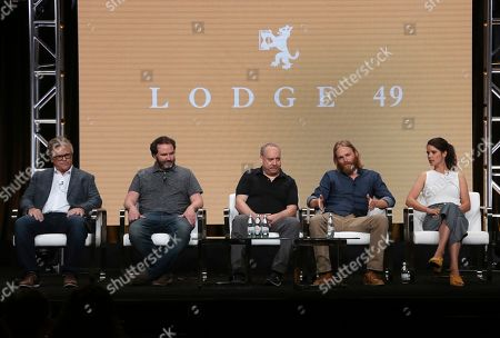 "Peter Ocko, Jim Gavin, Paul Giamatti, Wyatt Russell, Sonya Cassidy. Executive producer Peter Ocko, from left, creator Jim Gavin, executive producer Paul Giamatti, Wyatt Russell and Sonya Cassidy participate in AMC's ""Lodge 49"" panel at the Television Critics Association Summer Press Tour, in Beverly Hills, Calif"