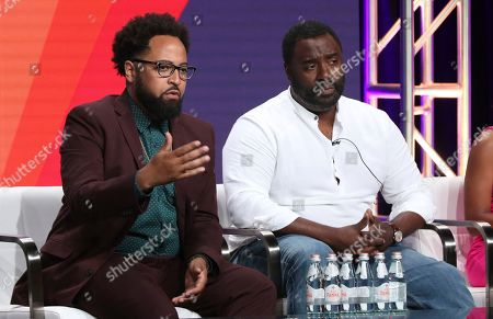 """Diallo Riddle, Bashir Salahuddin. Co-creators Diallo Riddle, left, and Bashir Salahuddin participate in IFC's """"Sherman's Showcase"""" panel at the Television Critics Association Summer Press Tour, in Beverly Hills, Calif"""