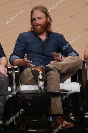 "Wyatt Russell participates in AMC's ""Lodge 49"" panel at the Television Critics Association Summer Press Tour, in Beverly Hills, Calif"