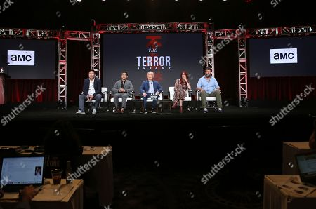 """Alexander Woo, Derek Mio, George Takei, JR Hawbaker, John Conroy. Showrunner Alexander Woo, from left, Derek Mio, George Takei, costume designer JR Hawbaker and cinematographer John Conroy participate in AMC's """"The Terror: Infamy"""" panel at the Television Critics Association Summer Press Tour, in Beverly Hills, Calif"""
