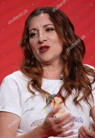 """Stock Image of Co-creator/star Aurora Browne participates in IFC's """"Baroness von Sketch"""" panel at the Television Critics Association Summer Press Tour, in Beverly Hills, Calif"""