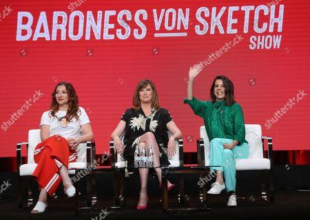 "Stock Image of Aurora Browne, Jennifer Whalen, Meredith MacNeil. Co-creator/stars Aurora Browne, from left, Jennifer Whalen and Meredith MacNeil participate in IFC's ""Baroness von Sketch"" panel at the Television Critics Association Summer Press Tour, in Beverly Hills, Calif"