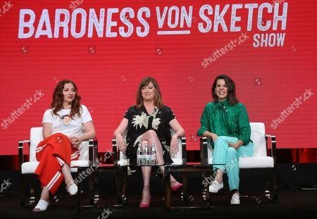 """Aurora Browne, Jennifer Whalen, Meredith MacNeil. Co-creator/stars Aurora Browne, from left, Jennifer Whalen and Meredith MacNeil participate in IFC's """"Baroness von Sketch"""" panel at the Television Critics Association Summer Press Tour, in Beverly Hills, Calif"""