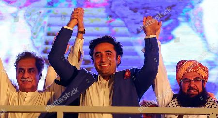 Bilawal Bhutto Zardari leader of opposition political party Pakistan People Party talks with supporters of opposition political parties as they observe anniversary of the general elections as 'BLACK DAY' to protest government policies, in Karachi, Pakistan, 25 July 2019. The Pakistani general elections were held on 25 July 2018 bringing Imran Khan and his Pakistan Tehreek-e-Insaf party (PTI) into power.