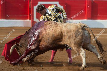 Spanish bullfighter Julian Lopez 'El Juli' fights a bull during Santiago's Fair bullfighting at Santander's bullring in Santander, northern Spain, 25 July 2019.