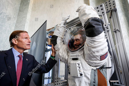 Stock Image of Senator Richard Blumenthal (D-CT) inspects a prototype of the Next Generation Space Suit system produced by Collins Aerospace, a unit of United Technologies Corporation, during the Space Day on the Hill on in Washington. The showcase was timed to commemorate the 50th Anniversary of Apollo 11