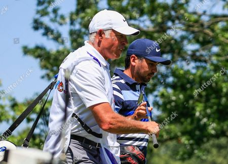 Jason Day of Australia (R) walks off the eighth tee with caddie Steve Williams (L) during the first round of the World Golf Championships FedEx St. Jude Invitational tournament at TPC Southwind in Memphis, Tennessee, USA, 25 July 2019. Championship play runs from 25 July to 28 July.