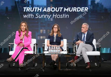"""Sunny Hostin, Hilary Estey McLoughlin, Terence Noonan. Host/executive producer Sunny Hostin, from left, and executive producers Hilary Estey McLoughlin and Terence Noonan participate in Investigation Discovery's """"Truth About Murder with Sunny Hostin"""" panel at the Television Critics Association Summer Press Tour, in Beverly Hills, Calif"""