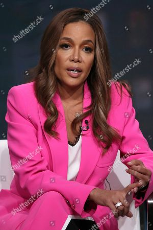 """Host/executive producer Sunny Hostin speaks in Investigation Discovery's """"Truth About Murder with Sunny Hostin"""" panel at the Television Critics Association Summer Press Tour, in Beverly Hills, Calif"""