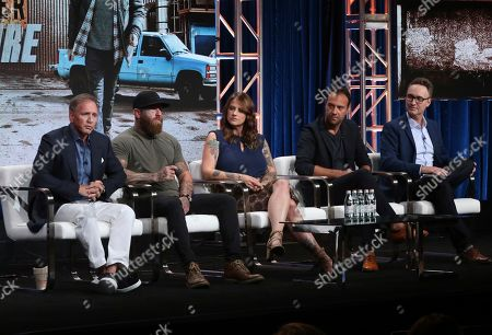 "Glenn Stearns, RJ Messenger, Dawn Van Scoter, Aengus James, Tim Warren. Glenn Stearns, from left, RJ Messenger, Dawn Van Scoter, executive producer Aengus James and executive producer/showrunner Tim Warren participate in TLC's ""Undercover Billionaire"" panel at the Television Critics Association Summer Press Tour, in Beverly Hills, Calif"