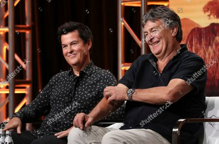 """John Downer, Simon Fuller. Creator/producer Simon Fuller, left, and director/producer John Downer participate in Discovery Channel's """"Serengeti"""" panel at the Television Critics Association Summer Press Tour, in Beverly Hills, Calif"""