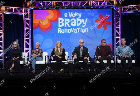 "Maureen McCormick, Eve Plumb, Susan Olsen, Mike Lookinland, Christopher Knight, Barry Williams. Members of ""The Brady Bunch,"" cast, from left, Maureen McCormick, Eve Plumb, Susan Olsen, Mike Lookinland, Christopher Knight and Barry Williams participate in HGTV's ""A Very Brady Renovation"" panel at the Television Critics Association Summer Press Tour, in Beverly Hills, Calif"