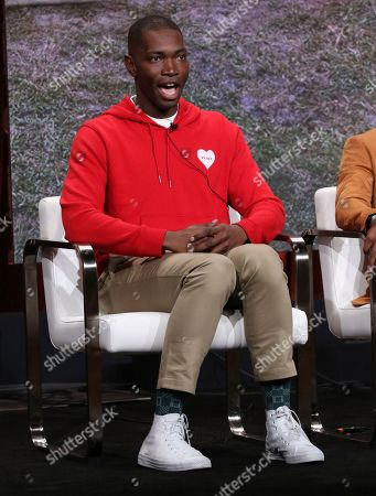 """Creator/executive producer Tarell Alvin McCraney participates in OWN's """"David Makes Man"""" panel at the Television Critics Association Summer Press Tour, in Beverly Hills, Calif"""