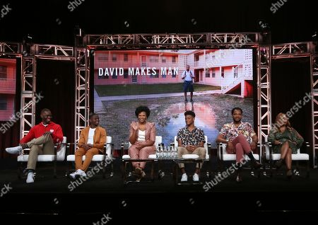 """Tarell Alvin McCraney, Akili McDowell, Alana Arenas, Nathaniel Logan McIntyre, Travis Coles, Dee Harris-Lawrence. Creator/executive producer Tarell Alvin McCraney, from left, Akili McDowell, Alana Arenas, Nathaniel Logan McIntyre, Travis Coles and showrunner/executive producer Dee Harris-Lawrence participate in OWN's """"David Makes Man"""" panel at the Television Critics Association Summer Press Tour, in Beverly Hills, Calif"""