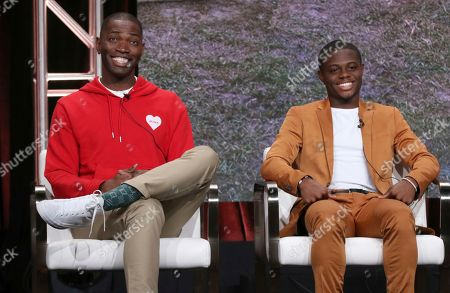 """Tarell Alvin McCraney, Akili McDowell. Creator/executive producer Tarell Alvin McCraney, left, and Akili McDowell participate in OWN's """"David Makes Man"""" panel at the Television Critics Association Summer Press Tour, in Beverly Hills, Calif"""