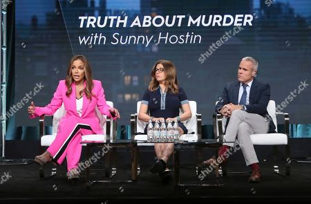 """Stock Picture of Sunny Hostin, Hilary Estey McLoughlin, Terence Noonan. Host/executive producer Sunny Hostin, from left, and executive producers Hilary Estey McLoughlin and Terence Noonan participate in Investigation Discovery's """"Truth About Murder with Sunny Hostin"""" panel at the Television Critics Association Summer Press Tour, in Beverly Hills, Calif"""