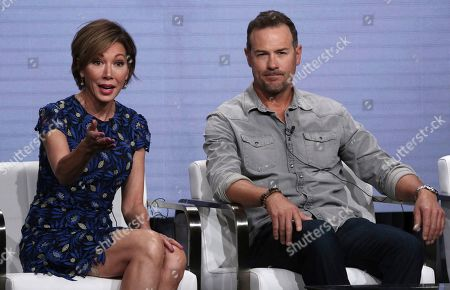 """Lisa Joyner, Chris Jacobs. Co-hosts Lisa Joyner, left, and Chris Jacobs participate in TLC's """"Taken At Birth"""" panel at the Television Critics Association Summer Press Tour, in Beverly Hills, Calif"""