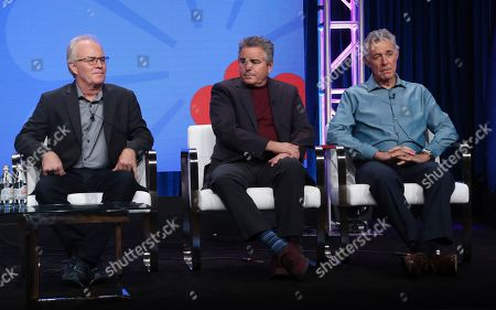 """Mike Lookinland, Christopher Knight, Barry Williams. Members of """"The Brady Bunch,"""" cast, from left, Mike Lookinland, Christopher Knight and Barry Williams participate in HGTV's """"A Very Brady Renovation"""" panel at the Television Critics Association Summer Press Tour, in Beverly Hills, Calif"""