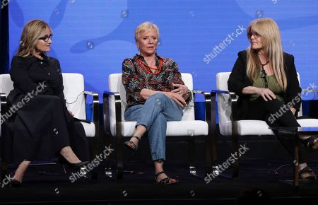 "Maureen McCormick, Eve Plumb, Susan Olsen. Members of ""The Brady Bunch,"" cast, from left, Maureen McCormick, Eve Plumb and Susan Olsen participate in HGTV's ""A Very Brady Renovation"" panel at the Television Critics Association Summer Press Tour, in Beverly Hills, Calif"