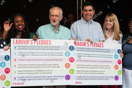 Stock Photo of Dawn Butler, Jeremy Corbyn and Richard Burgon hold posters with Labour pledges