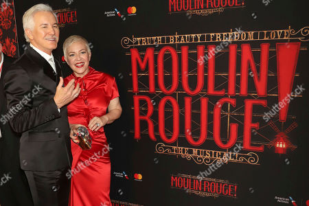 """Baz Luhrmann, Catherine Martin. Baz Luhrmann, left, and Catherine Martin attend the Broadway opening night of """"Moulin Rouge! The Musical"""" at the Al Hirschfeld Theatre, in New York"""