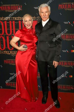 """Baz Luhrmann, Catherine Martin. Baz Luhrmann, right, and Catherine Martin attend the Broadway opening night of """"Moulin Rouge! The Musical"""" at the Al Hirschfeld Theatre, in New York"""