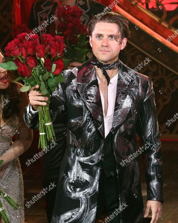 """Aaron Tveit appears at the curtain call for the Broadway opening night of """"Moulin Rouge! The Musical,"""" at the Al Hirschfeld Theatre, in New York"""