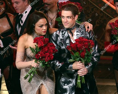 "Karen Olivo, Aaron Tveit. Karen Olivo, left, and Aaron Tveit appear at the curtain call for the Broadway opening night of ""Moulin Rouge! The Musical,"" at the Al Hirschfeld Theatre, in New York"