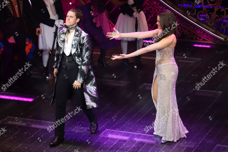 "Stock Photo of Aaron Tveit, Karen Olivo. Aaron Tveit, left, and Karen Olivo appear at the curtain call for the Broadway opening night of ""Moulin Rouge! The Musical,"" at the Al Hirschfeld Theatre, in New York"