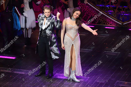 "Aaron Tveit, Karen Olivo. Aaron Tveit, left, and Karen Olivo appear at the curtain call for the Broadway opening night of ""Moulin Rouge! The Musical,"" at the Al Hirschfeld Theatre, in New York"